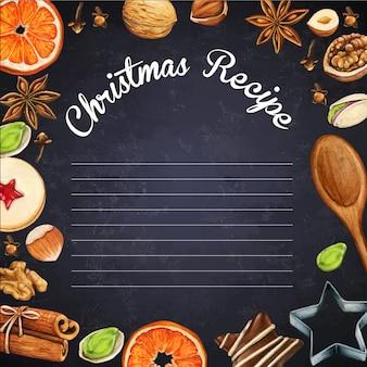 Pizarra watercolo hipsterr con especias y galletas navideñas