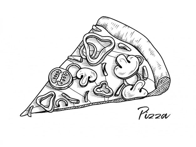 Pizza aislado en un fondo blanco. dibuja platos italianos. ilustración