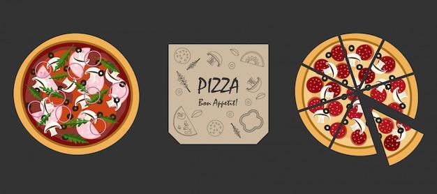 Pizza y caja aislada en negro. menú de restaurante italiano. ilustración.