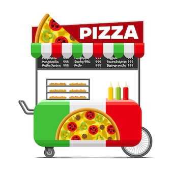 Pizza carrito de comida callejera.