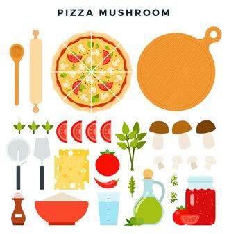 Pizza con champiñones en rodajas y todos los ingredientes para cocinarla
