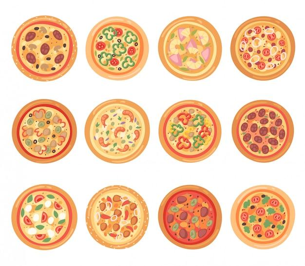 Pizza comida italiana con queso y tomate en pizzería y pastel horneado con salchichas en pizzahouse en italia ilustración conjunto sobre fondo blanco.