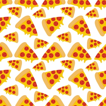 Pizza comida de patrones sin fisuras