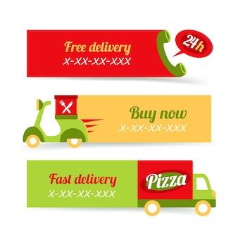 Pizza de comida rápida entrega gratuita banners de 24h conjunto ilustración vectorial aislado