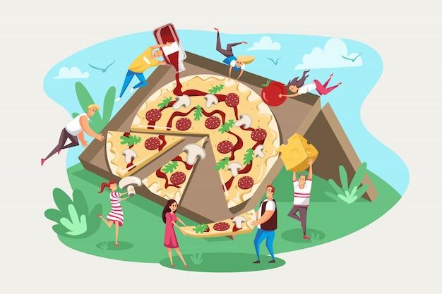 Pizza, comida rápida, equipo de amistad, concepto hambriento.