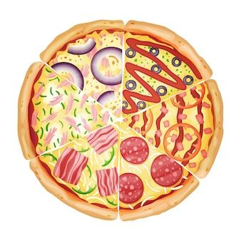 Pizza de diferentes rebanadas vista superior aislado en blanco ilustración fotorrealista del vector.