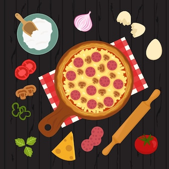 Pizza e ingredientes para hornear comida italiana