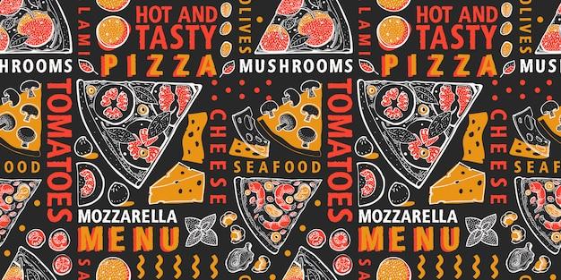 Pizza e ingredientes de patrones sin fisuras. comida italiana dibujada a mano.