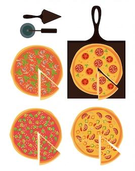 Pizza e ingredientes set iconos