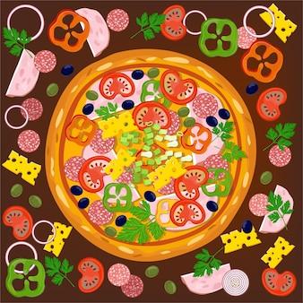 Pizza e ingredientes.