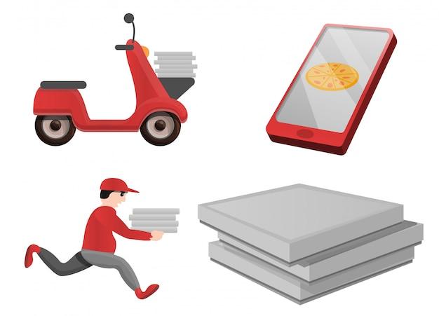 Pizza entrega conjunto de iconos, estilo de dibujos animados