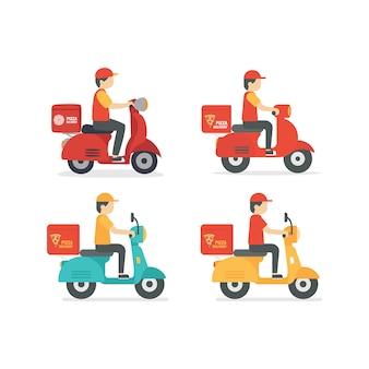 Pizza entrega hombre montando scooter ilustración