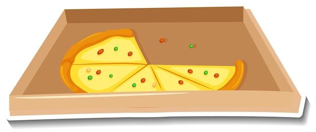 Pizza en la etiqueta engomada de la caja sobre fondo blanco.