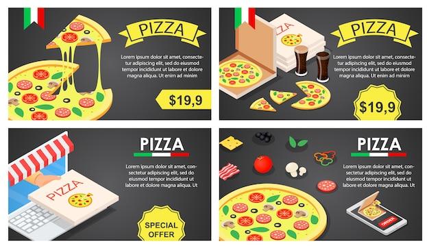 Pizza festival banner concepto conjunto, estilo isométrico