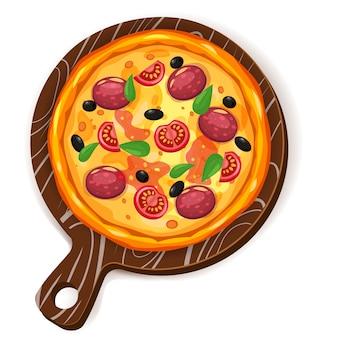 Pizza fresca con diferentes ingredientes tomate, queso, aceituna, salchicha, albahaca