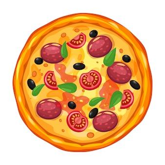 Pizza fresca con diferentes ingredientes tomate, queso, aceitunas, salchichas, albahaca. comida rápida italiana tradicional