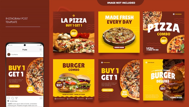 Pizza y hamburguesa comida menú promoción redes sociales instagram post banner plantilla