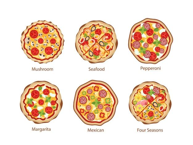 Pizza con hongos, mariscos, pepperoni y margarita, mexicana y four seasons