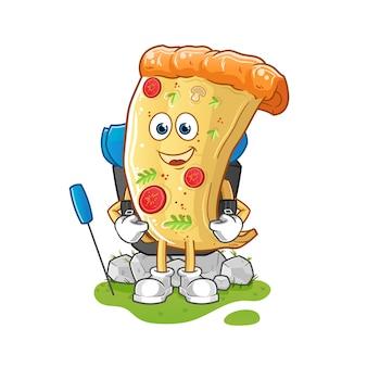 Pizza ir mascota de camping. dibujos animados