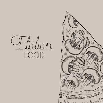 Pizza italiana dibujada a mano comida italiana