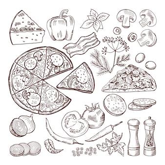 Pizza italiana con diferentes ingredientes. conjunto de vectores doodle