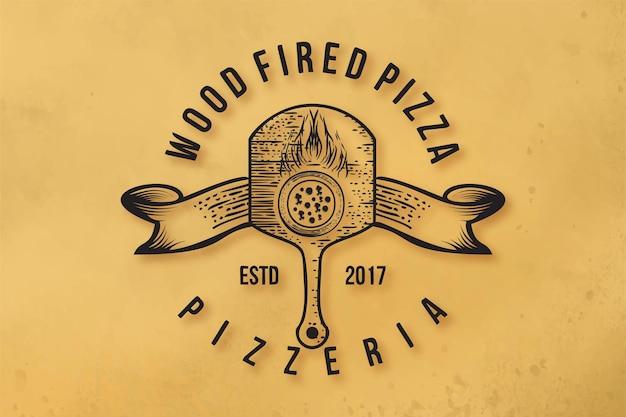 Pizza italiana, inspiración de diseños de logotipo de leña