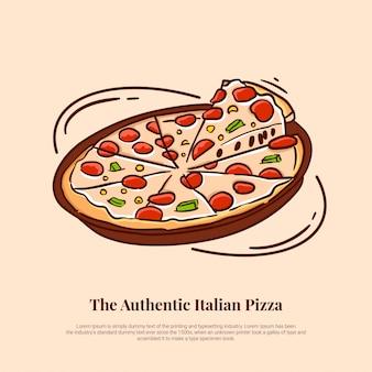 Pizza italiana con queso de ternera y queso mozzarella