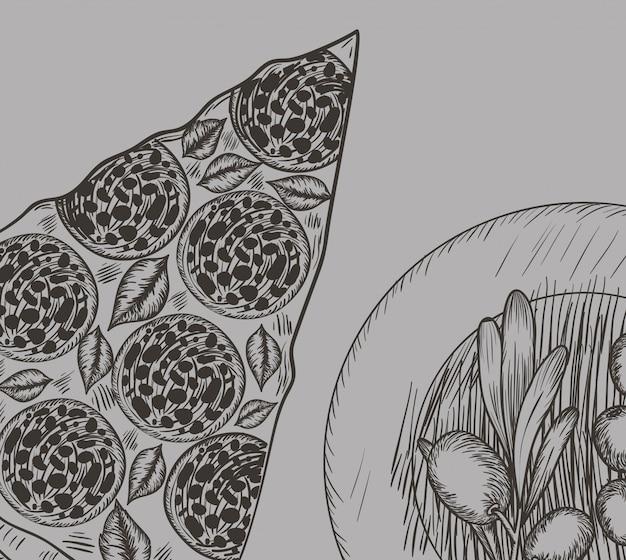 Pizza italiana con semillas de olivo dibujado a mano comida italiana