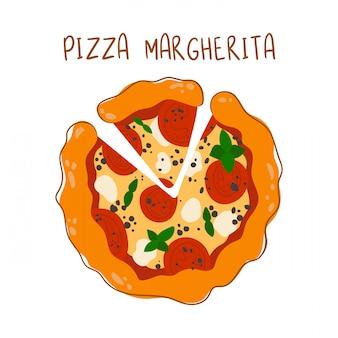 Pizza margherita con tomate y queso mozzarella en blanco