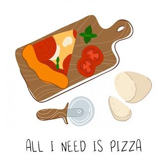 Pizza margherita con tomate y queso mozzarella en escritorio de madera