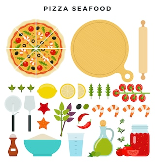 Pizza con mariscos y todos los ingredientes para cocinarla