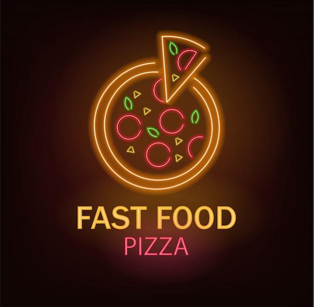Pizza de neón, comida rápida de neón, deliciosa pizza, luz de neón