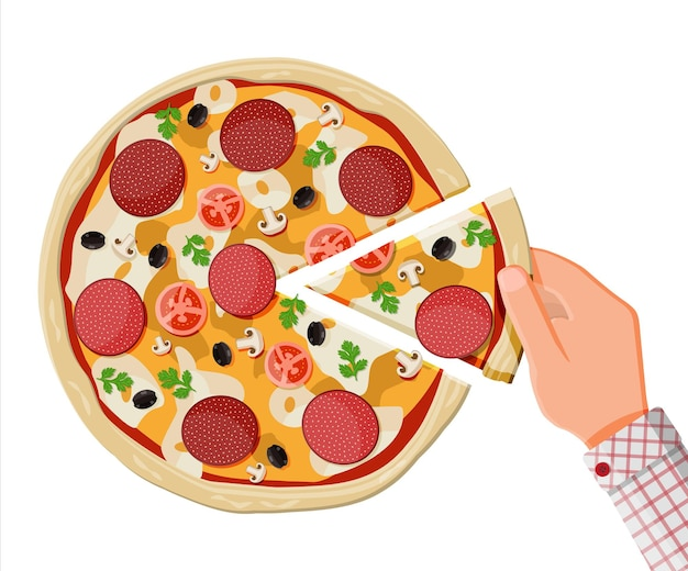 Pizza con pepperoni. comida rápida tradicional. masa, queso, salami, aceituna, tomate y verduras. ilustración de vector de estilo plano