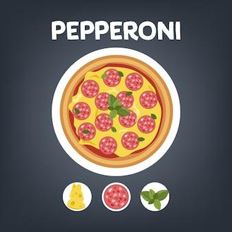 Pizza de pepperoni con salchicha. comida italiana con queso