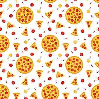 Pizza picante caliente - patrón sin costuras con rebanadas e ingredientes.