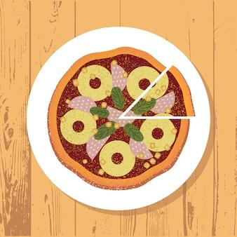 Pizza y pizza rebanada en plato blanco