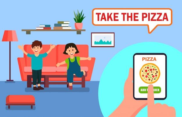 Pizza que pide la aplicación en línea ilustración vectorial