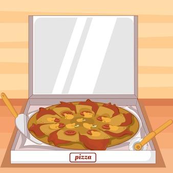 Pizza de queso rebanadas de verduras con fondo