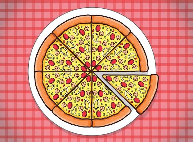 Pizza de queso rodajas de verduras con imágenes prediseñadas de fondo