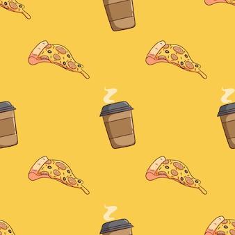 Pizza rebanada de patrones sin fisuras con la taza de café