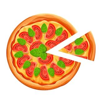 Pizza con rebanada. pizza margherita con tomate, queso y orégano. cartel para restaurante, cafetería, pizzería. ilustración con lugar para el texto sobre fondo blanco.