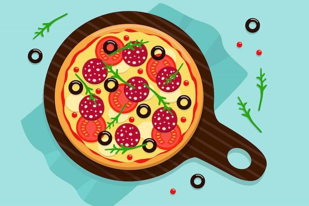 Pizza redonda entera en una bandeja