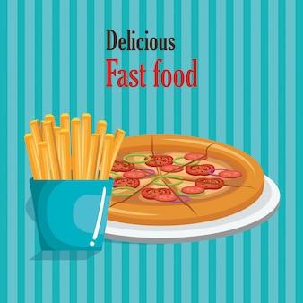 Pizza y refrescos comida rápida
