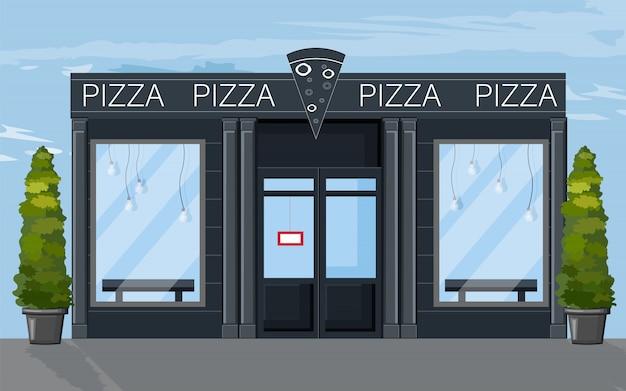 Pizza restaurante fachada estilo plano. iconos de cafe moderno