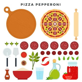 Pizza con salchichas italianas clásicas pepperoni y todos los ingredientes para cocinarla