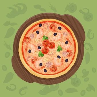Pizza en la tabla de cortar