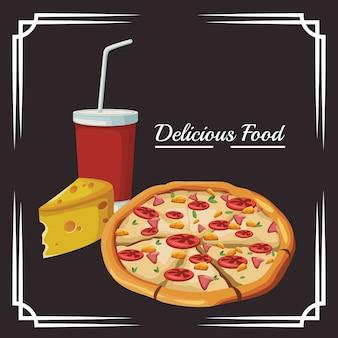 Pizza y trozo de queso y taza de refresco
