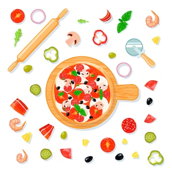 Pizza vista superior establece composición en estilo de dibujos animados con pizza