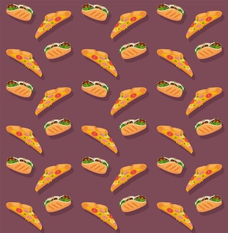 Pizzas y burritos deliciosa comida rápida patrón ilustración