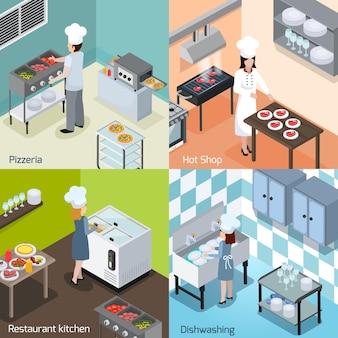 Pizzería comercial y restaurante, cocina, equipo interior, electrodomésticos, 4 iconos isométricos cuadrados con instalación para lavar platos, ilustración vectorial aislada